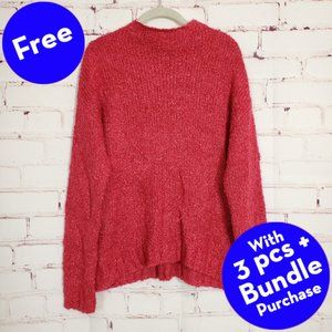 BP. Sweater Funnel Neck Bouclé Knit Berry Pink